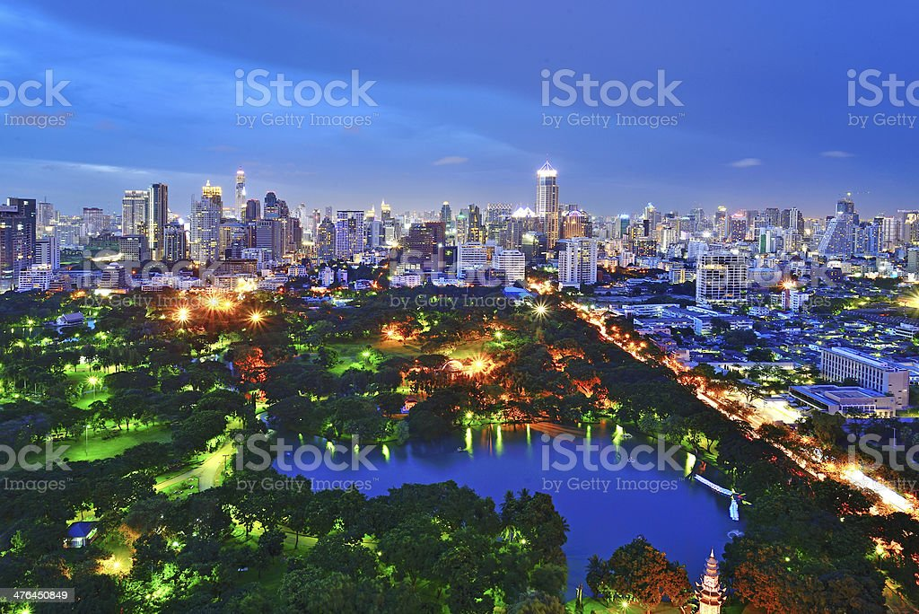 Bangkok skyline and Lumphini Park royalty-free stock photo