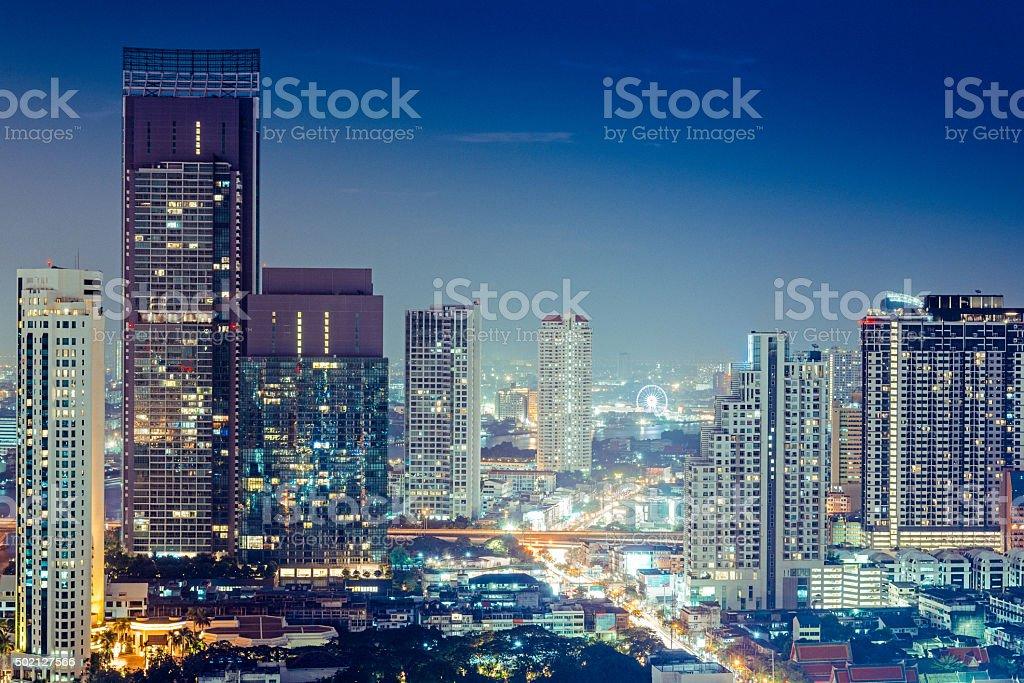 Bangkok Skyline at dusk stock photo