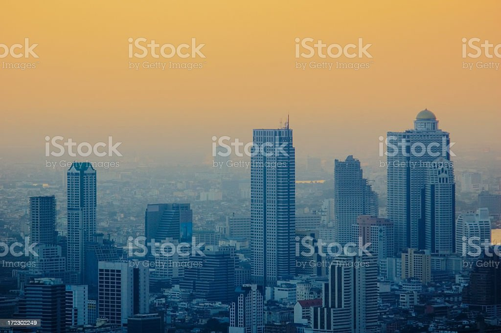 Bangkok Skyline at Sunset royalty-free stock photo