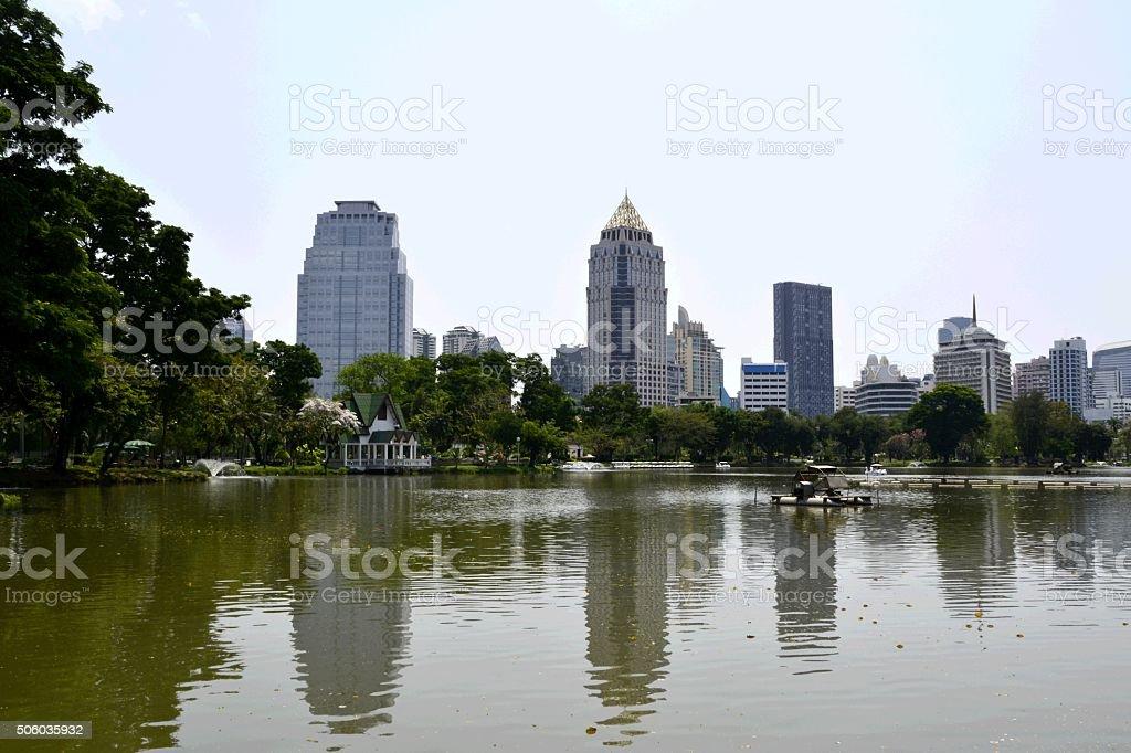 Bangkok skyline from Lumpini park Thailand stock photo