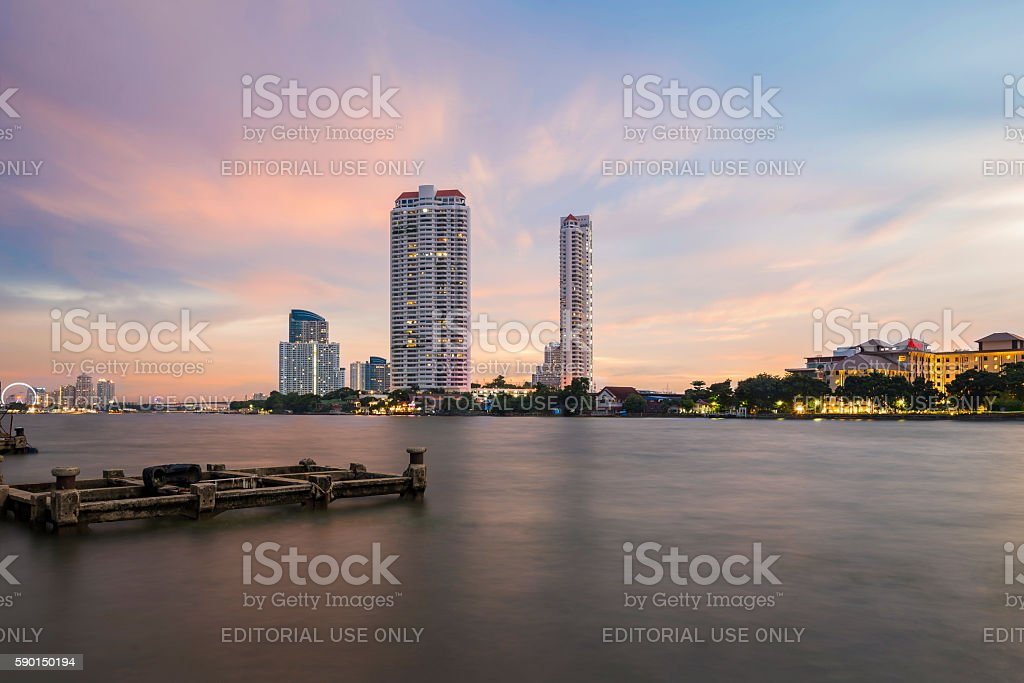 Bangkok Skyline on Chao Phraya River during sunset stock photo