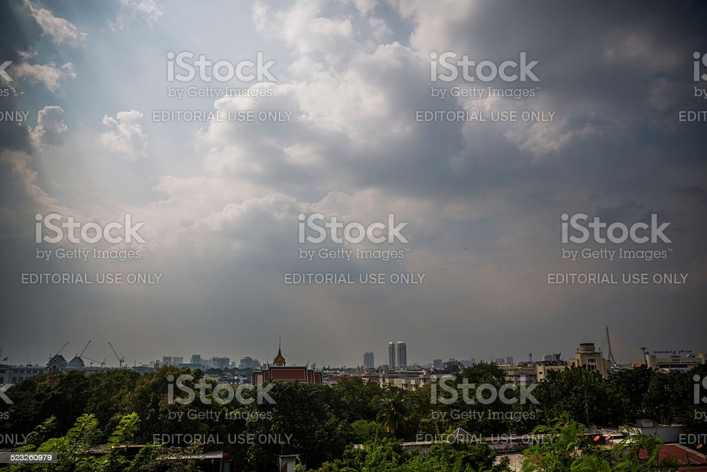 Bangkok skyline seen from Wat Saket temple stock photo