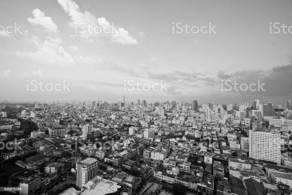 Bangkok Skyline, Thailand in Black and White stock photo