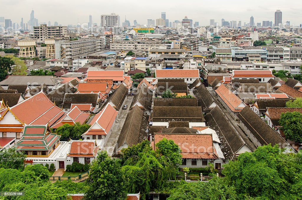 Bangkok (Thailand) skyline view from the Golden Mount stock photo