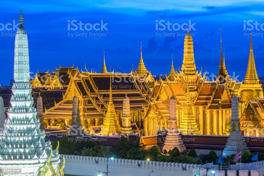 Bangkok skyline,Wat Phra Kaew the famous place in Bangkok, temple of the emerald Buddha and Grand Palace in Bangkok, Thailand stock photo