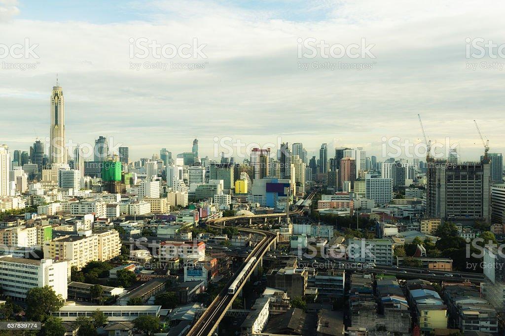 Bangkok skyscrapers building at sunset in Bangkok, Thailand. stock photo