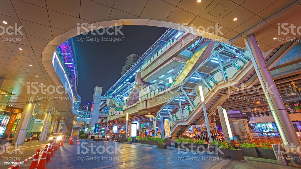 Bangkok skytrain station at night. Thailand stock photo