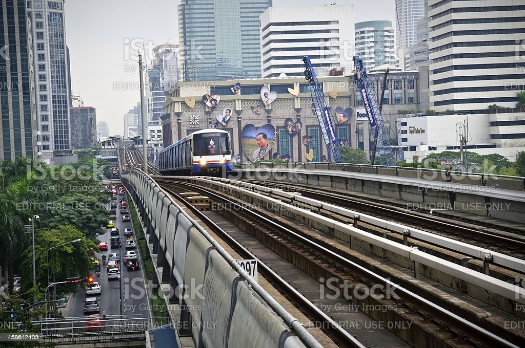 Bangkok Skytrain tracks and train in Thailand royalty-free stock photo