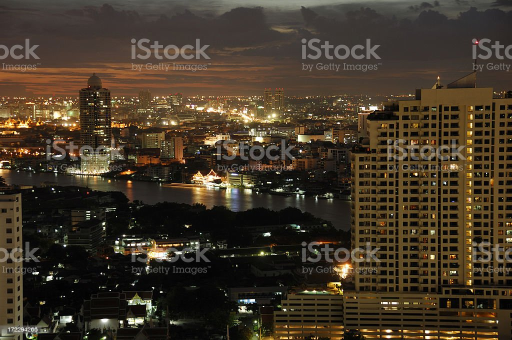 Bangkok sunset panorama royalty-free stock photo