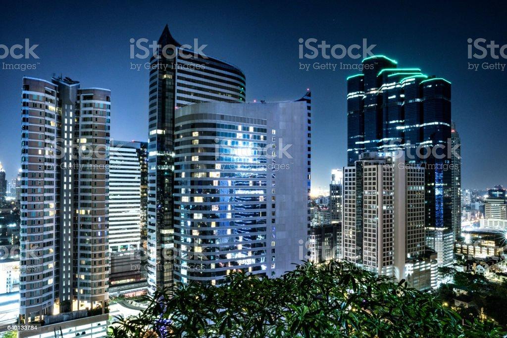 Bangkok Thailand, cityscape of modern building at night stock photo