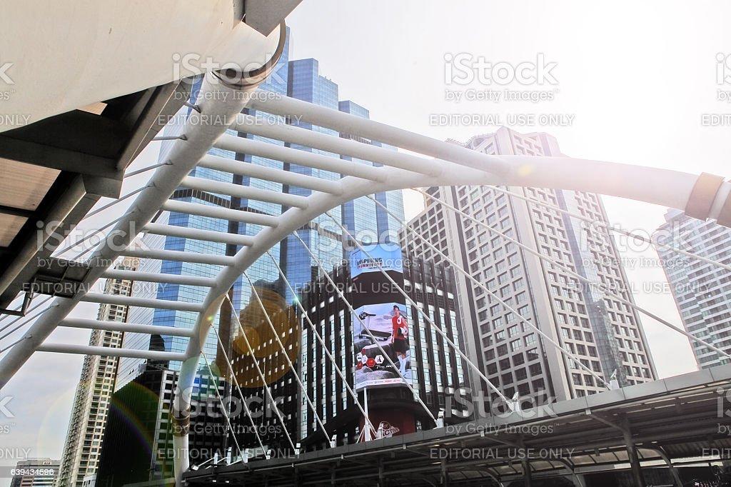 Bangkok, Thailand - December 3, 2016 - Chong Nonsi skywalk bridge stock photo