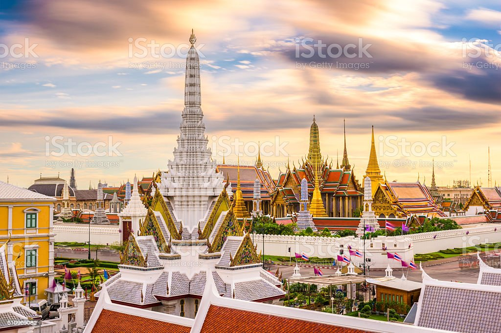 Bangkok Thailand Temples Skyline stock photo