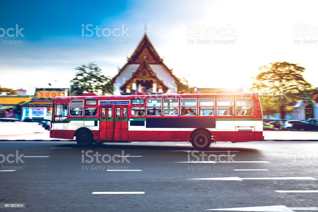 Bangkok traffic in front of Giant Swing stock photo