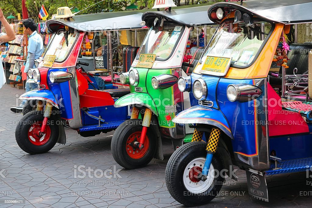 Bangkok tuk tuks stock photo