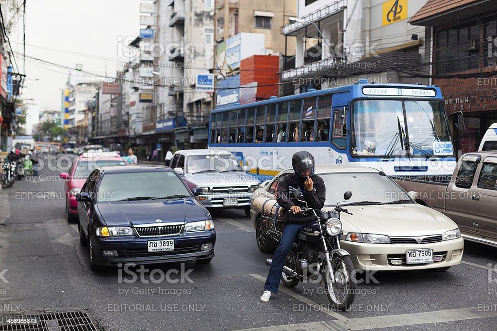 Bangkok, Vehicles waiting for the green light royalty-free stock photo