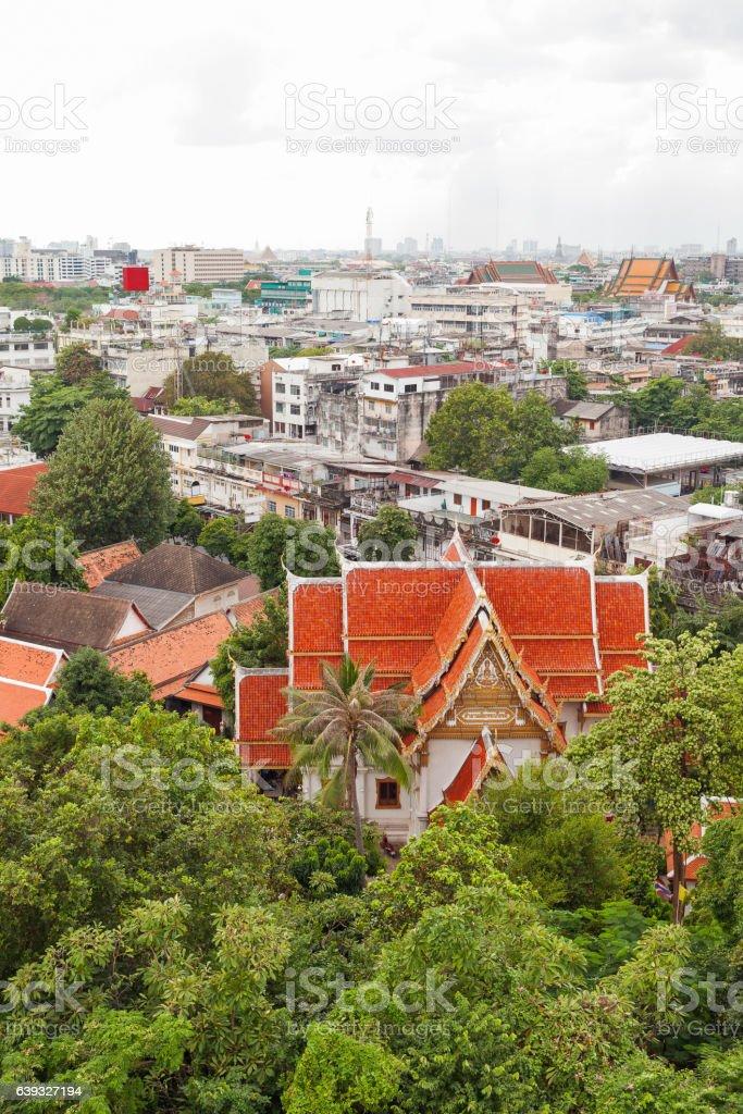 Bangkok, view from the Wat Saket (the Golden Mount). Thailand. stock photo