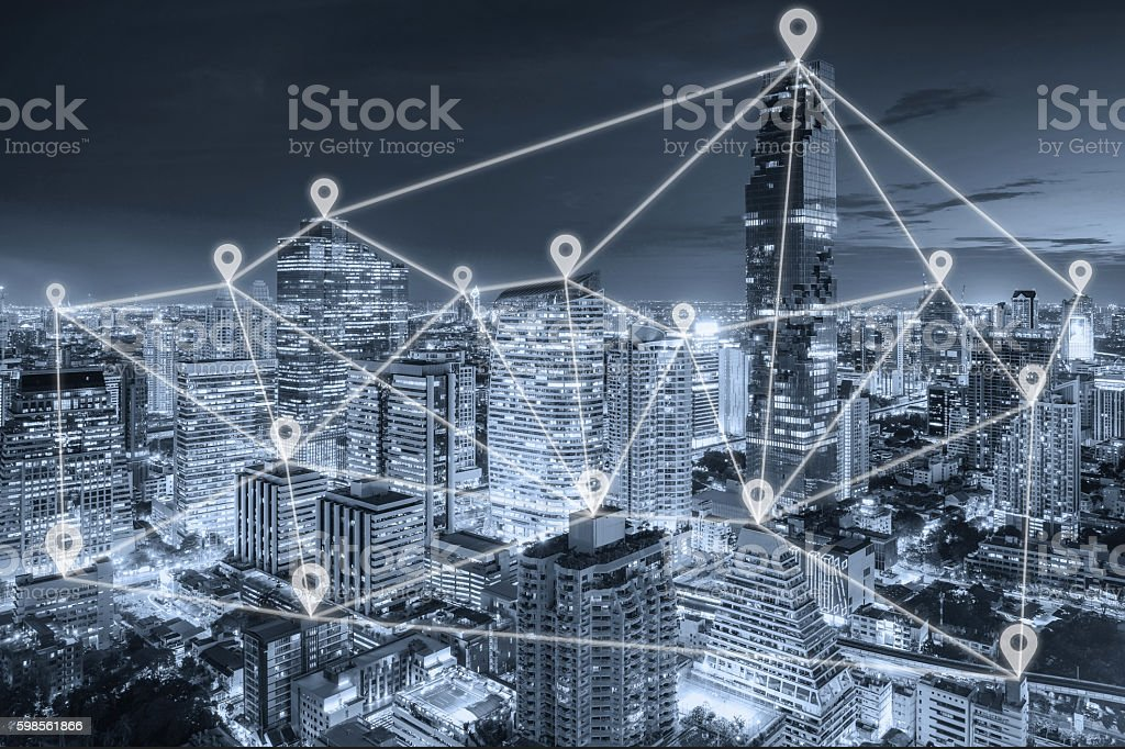 Bangkok view in business district with map pin flat network stock photo