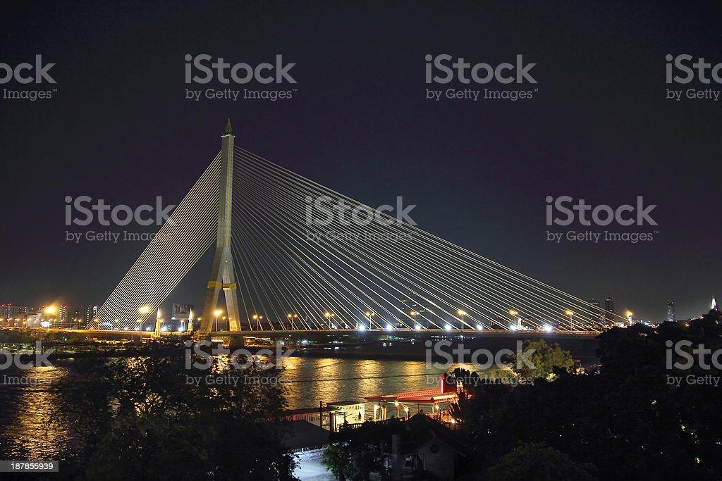 Bangkok_Rama-VIII-bridge at night stock photo