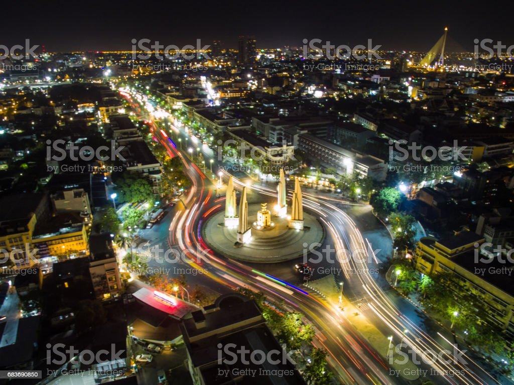 Bangkok's democracy in aerial view. stock photo