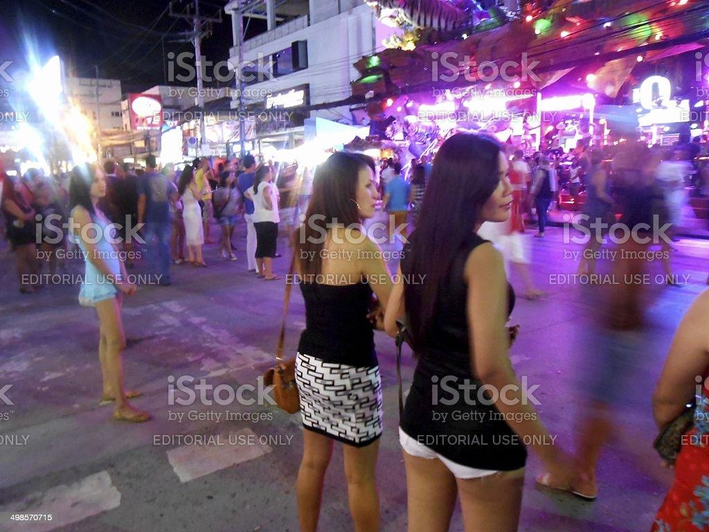Bangla road mob, Patong beach Thailand stock photo