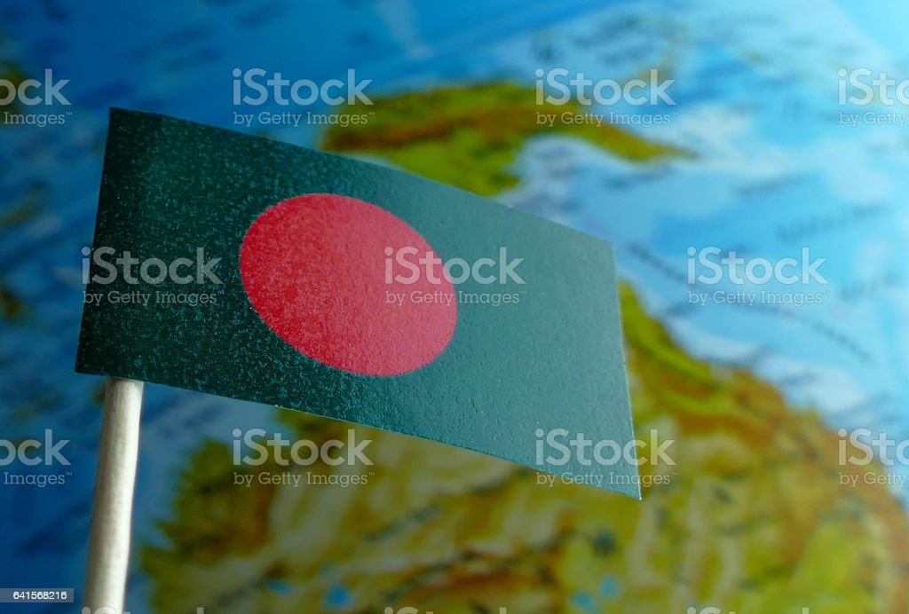 Bangladesh flag with a globe map as a background macro stock photo