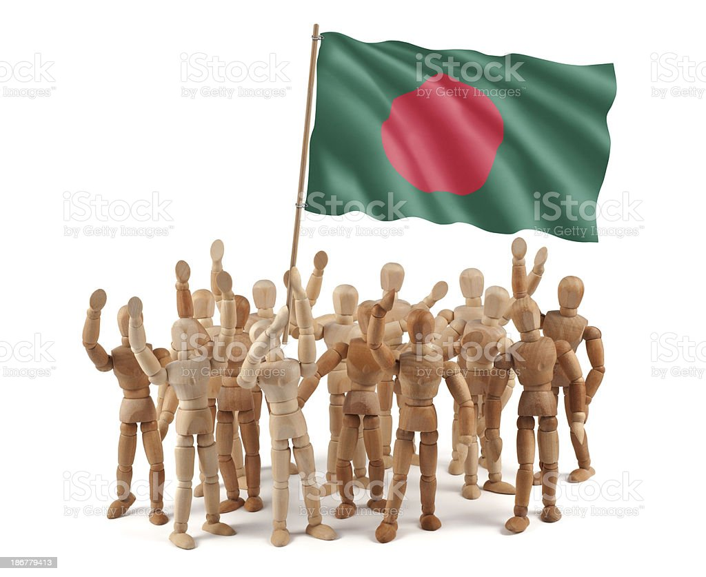 Bangladesh - wooden mannequin group with flag royalty-free stock photo