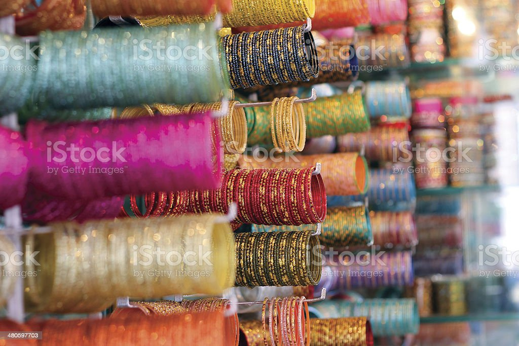 Bangles being sold at Market stock photo