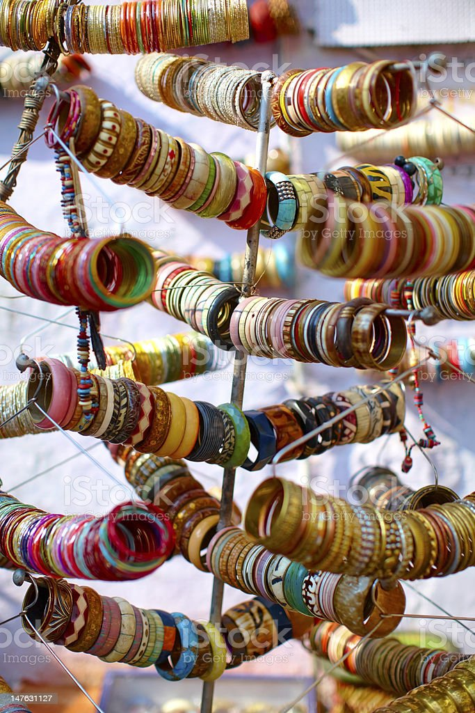 Bangles colorful ornaments on the market stock photo