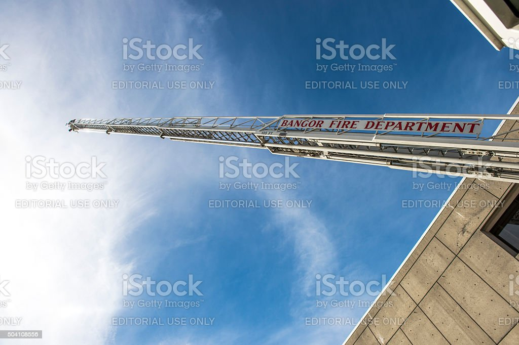 Bangor Maine Fire Department Fire Truck 105' Aerial Open House stock photo