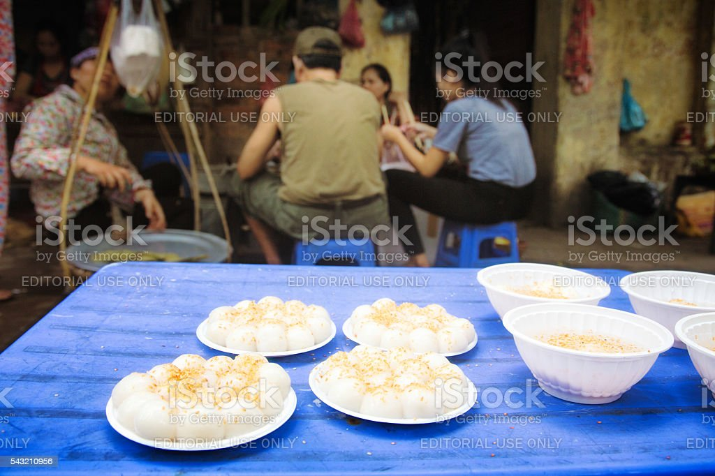 Banh Troi floating cakes on sales in Hanoi stock photo