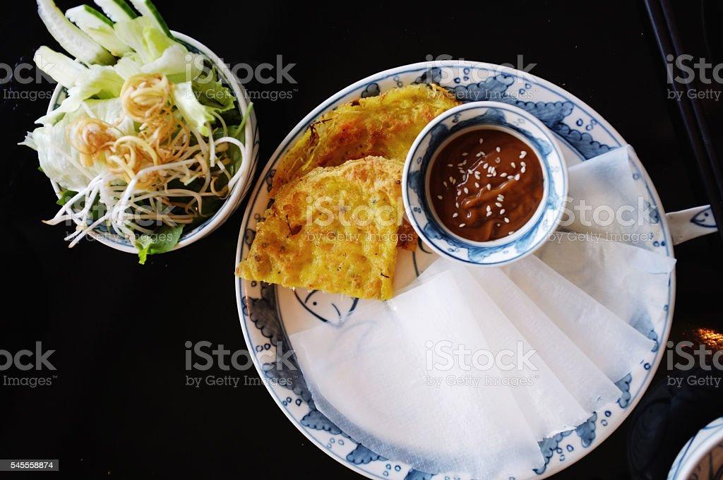 banh xeo, vietnamese crepe (pancake) stock photo