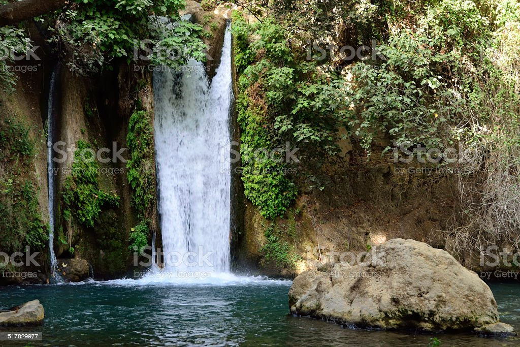 Banias waterfall in autumn, Israel. stock photo