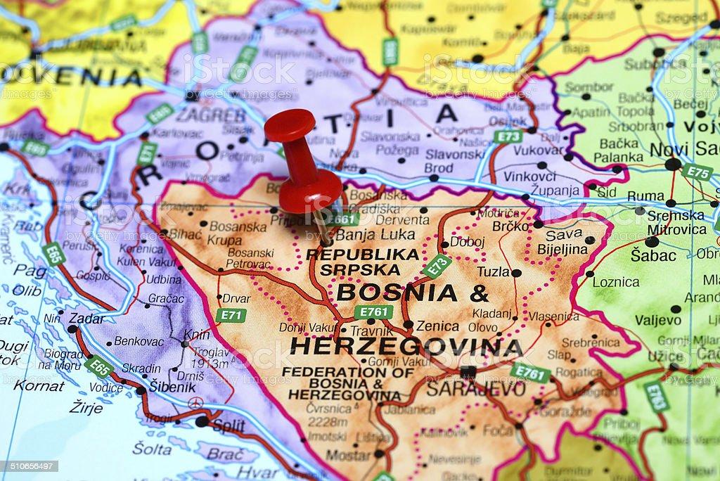 Banja Luka pinned on a map of europe stock photo