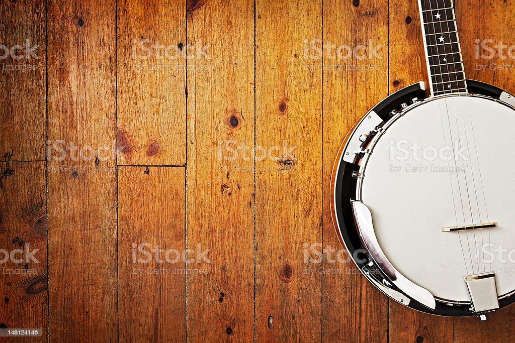 Banjo on wood background stock photo