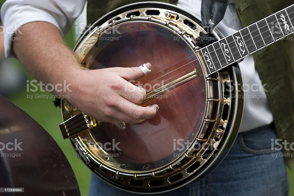 Banjo Player Playing Musical Instrument Close Up stock photo