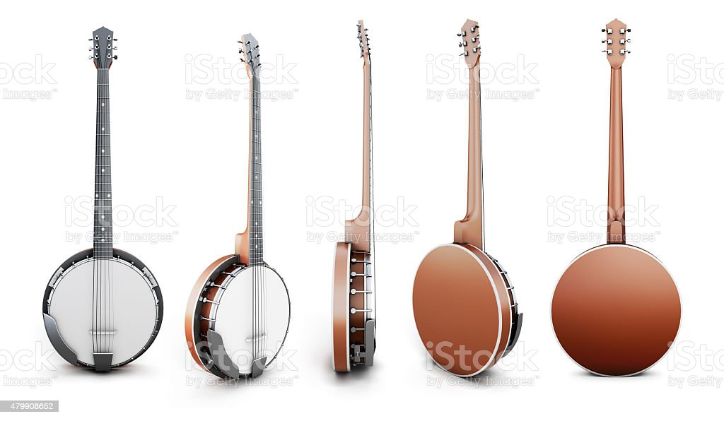 Banjo views from different angles stock photo