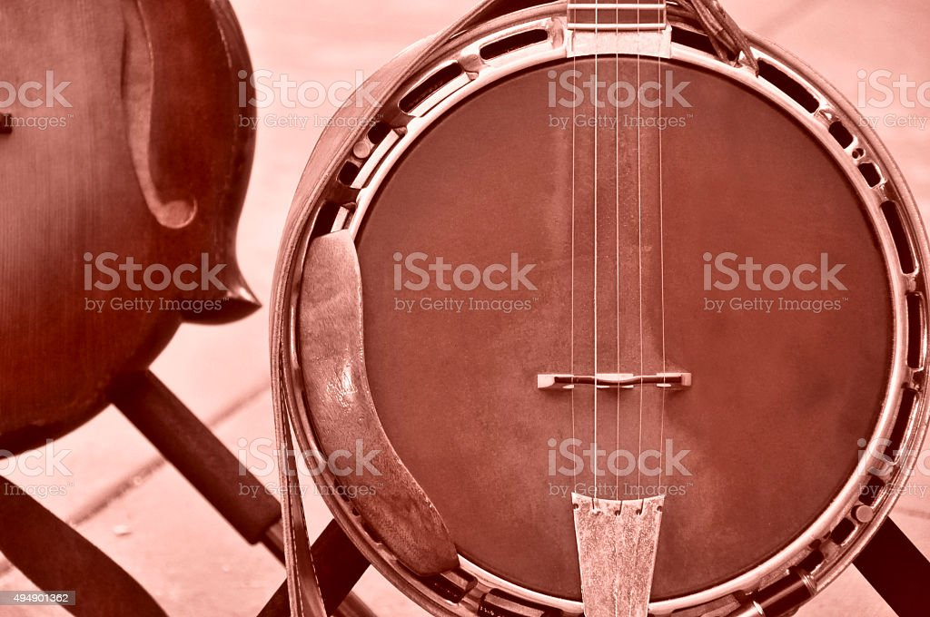 Banjo With Leather Strap stock photo