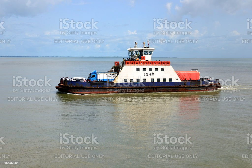 Banjul to Barra ferryboat on he River Gambia stock photo