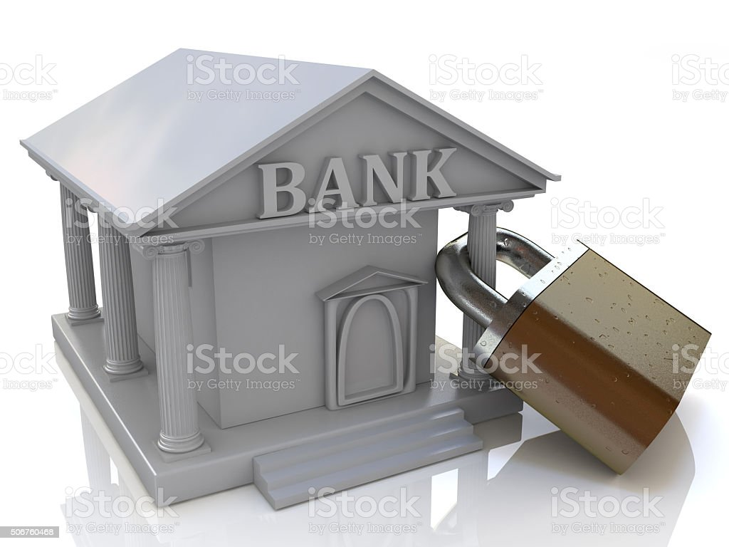 Bank and the lock stock photo