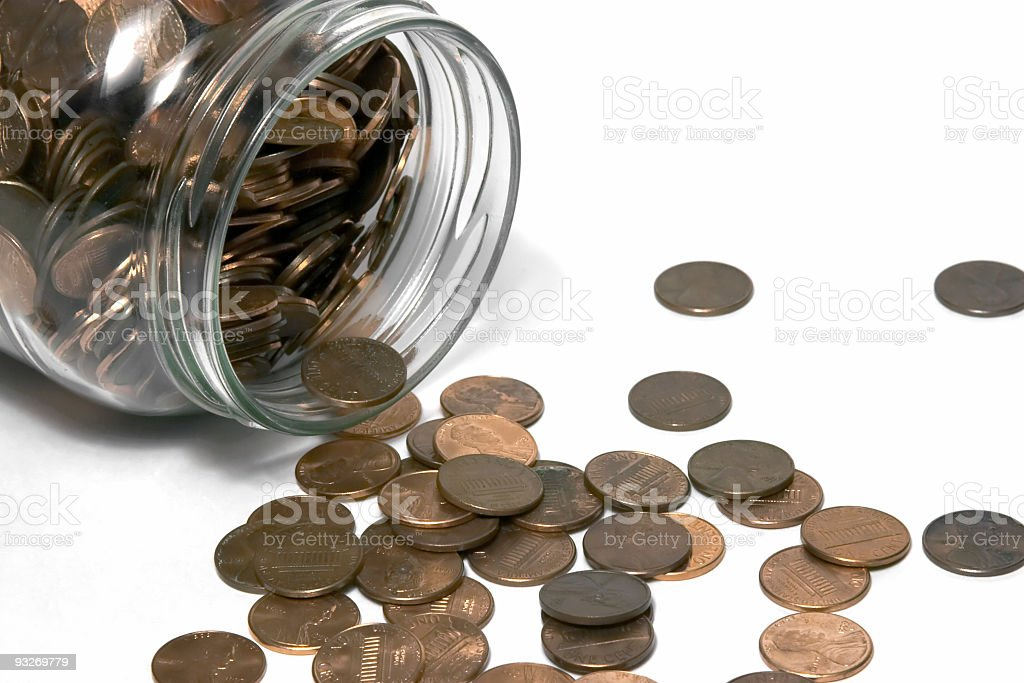 Bank At Home (Spilled Pennies) royalty-free stock photo