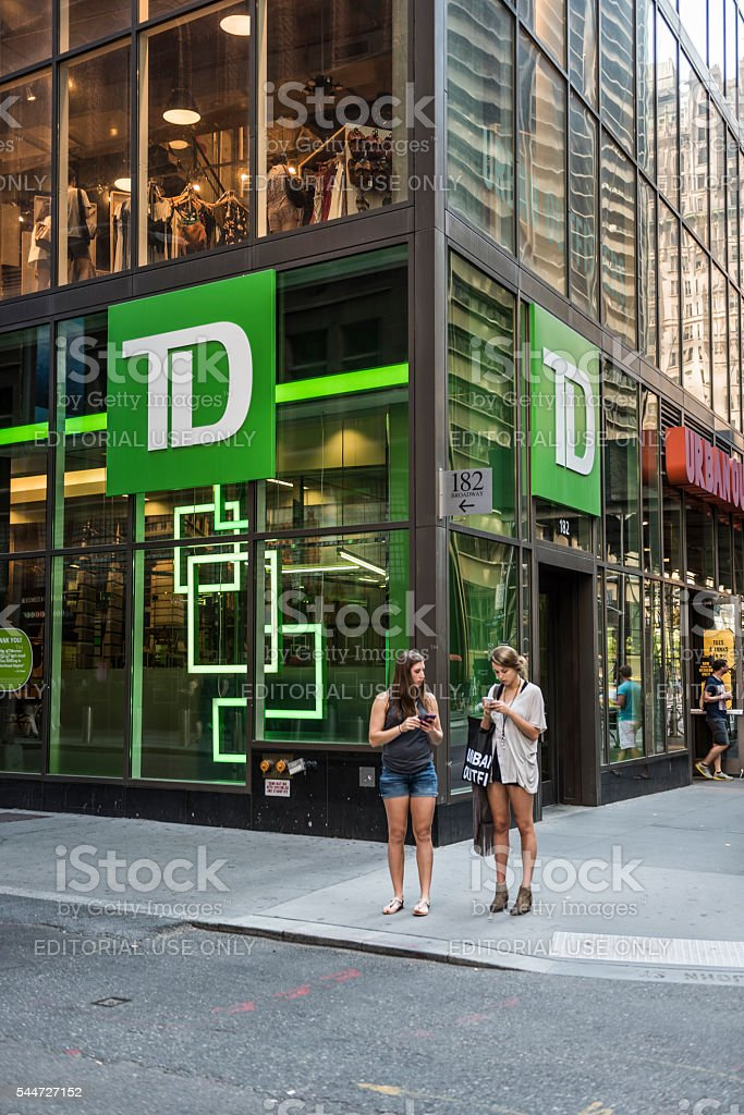 TD Bank branch by broadway street in NYC stock photo