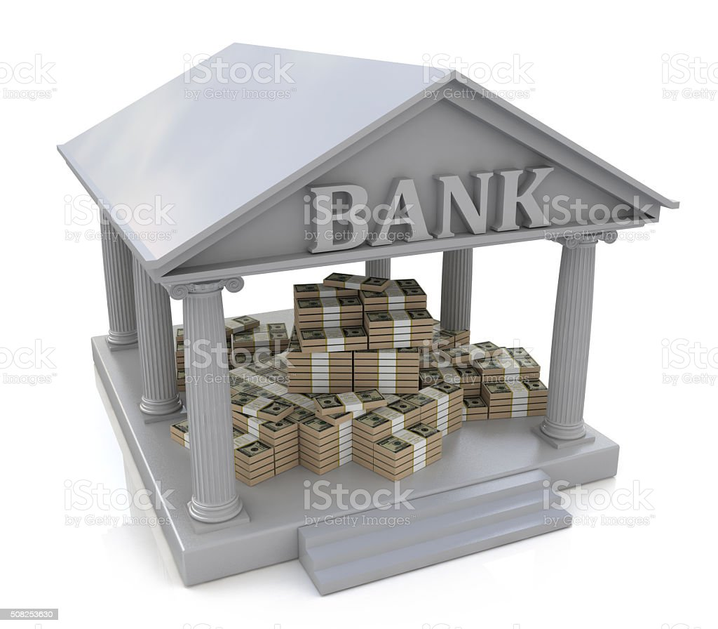 3D Bank building and heaps of money stock photo