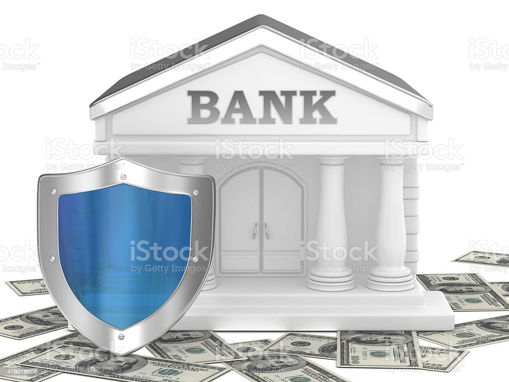 Bank Building and Metal Shield stock photo