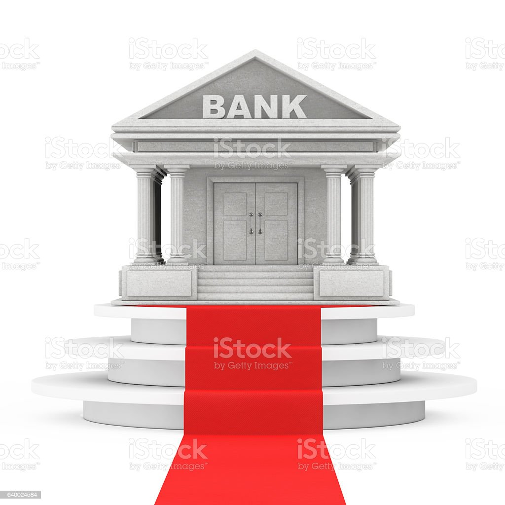 Bank Building over Winner Podium with Red Carpet. 3d Rendering stock photo