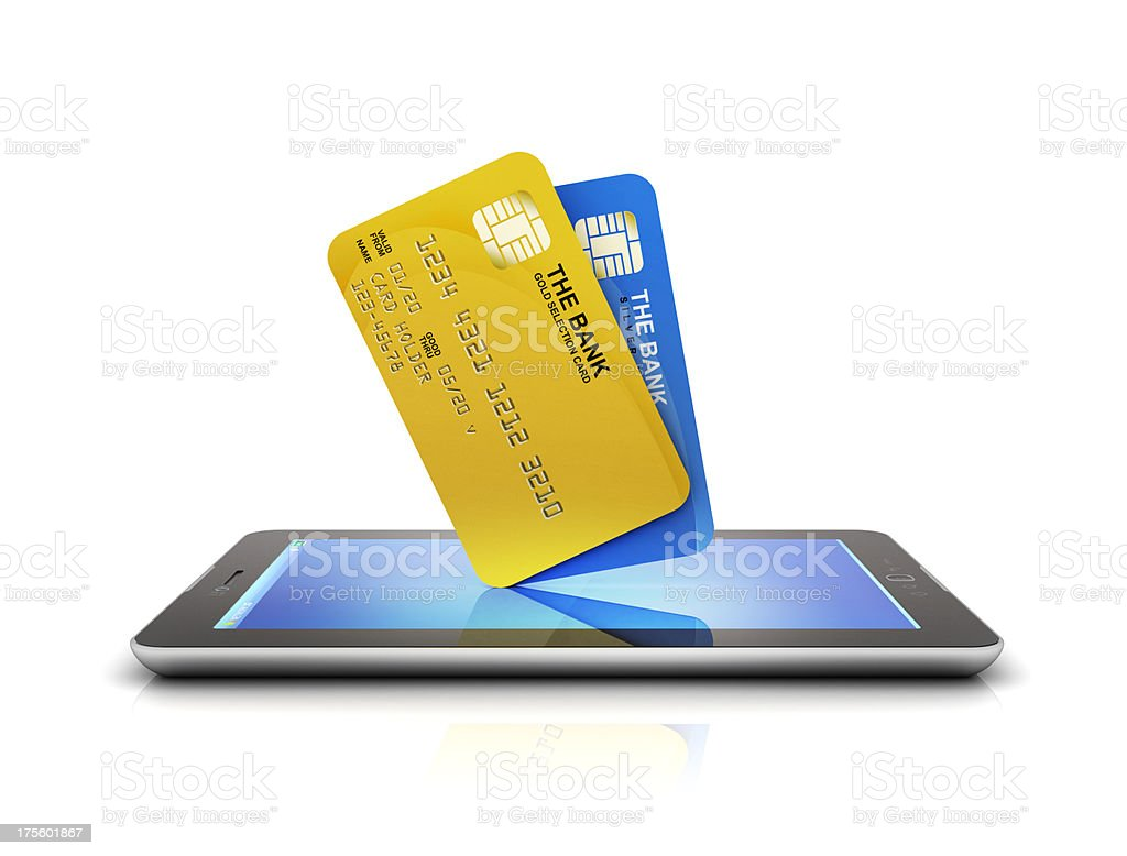 Bank Cards purchase on tablet stock photo