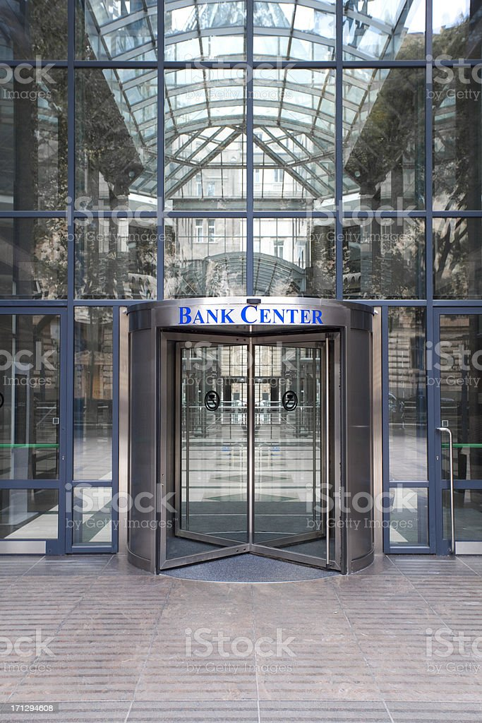Bank center entrance royalty-free stock photo
