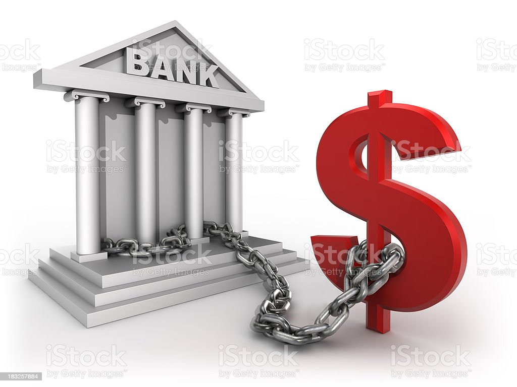 Bank chained to dollar sign - isolated with clipping path stock photo