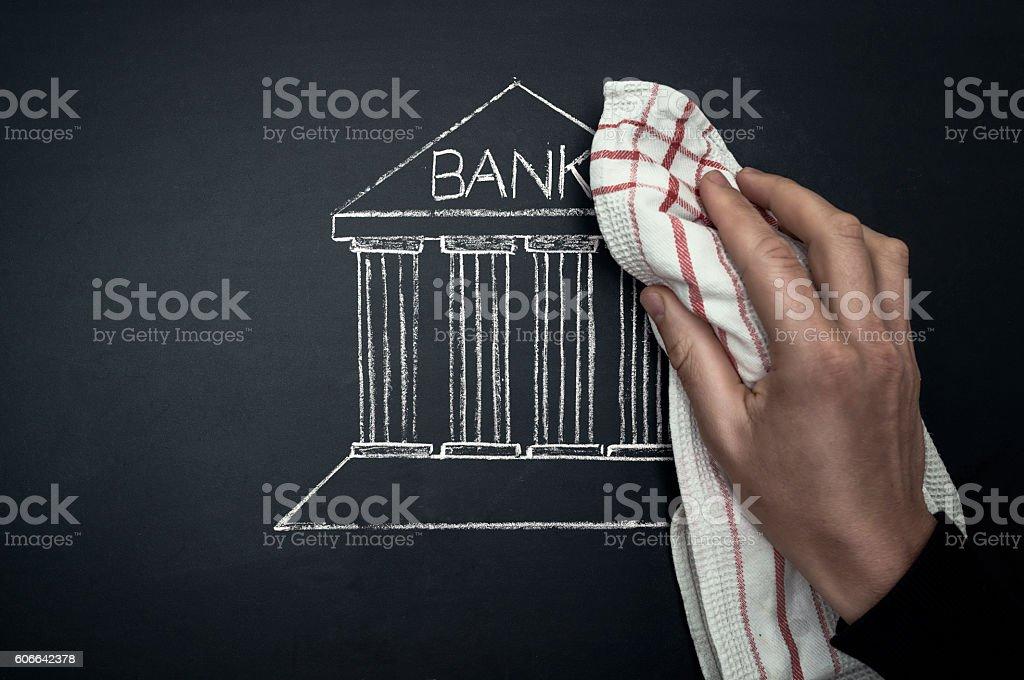 bank crisis concept on blackboard stock photo