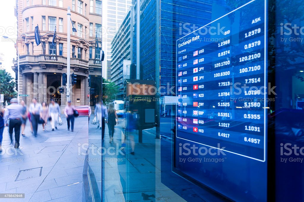 Bank exchange rate display stock photo