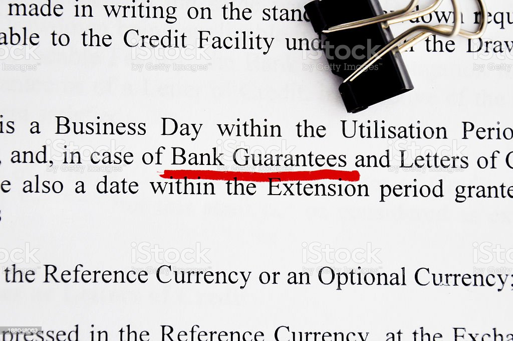 Bank guarantees highlighted on contract stock photo